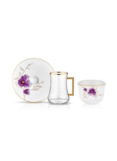 Koleksiyon Dervish Kulplu Gawa 6'lı Çay Seti Violet Renkli